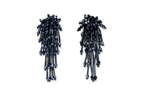 Mayura Navy Beaded Earrings