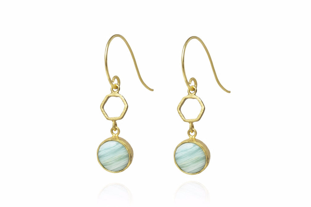 Meester Gold Drop Earrings with Blue Aragonite