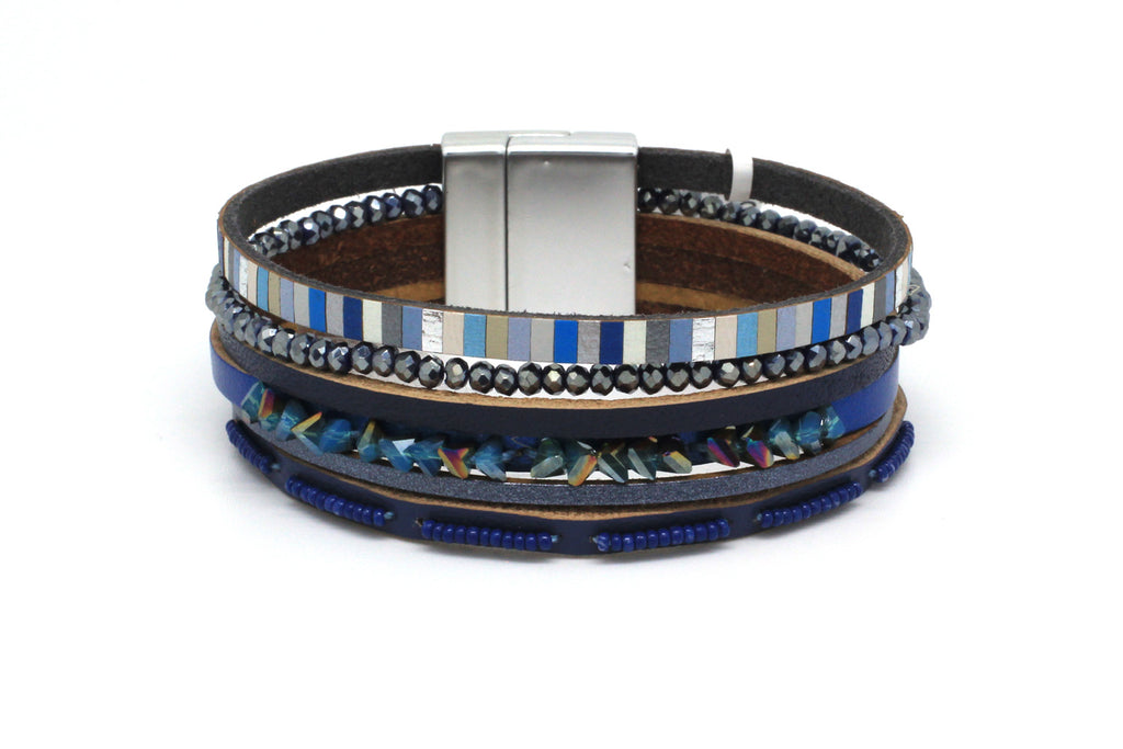 Mole Blue Leather Magnet Bracelet