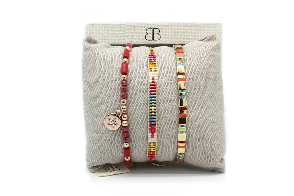 Montreal Multicolour 3 Layered Bracelet Stack - Boho Betty