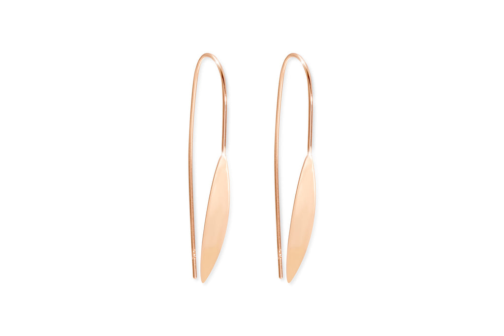 Moore Rose Gold on Sterling Silver Spear Thread Through Earrings
