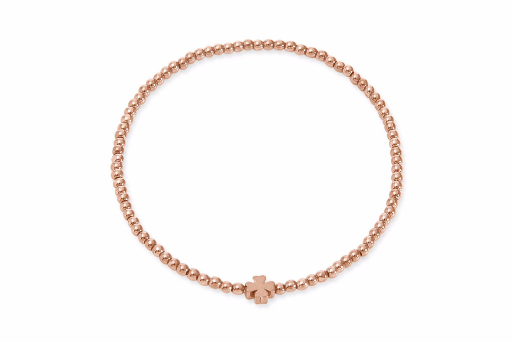 Moray Rose Gold Seed Bead Bracelet with Clover Charm