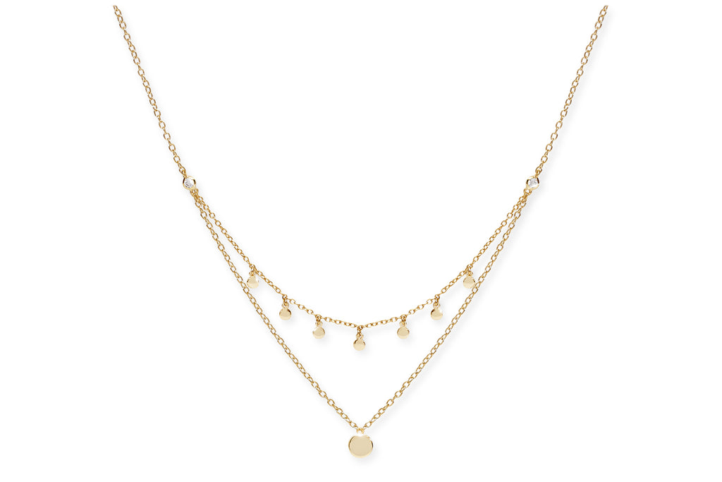 Nebbiolo Gold on Sterling Silver Layered Disc Necklace