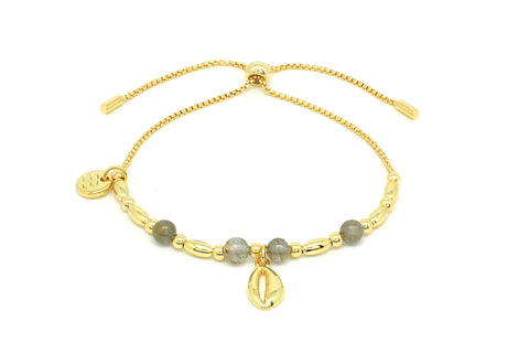 Aprium Grey & Gold Shell Bracelet