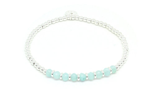 Casaba Mint Jade Beaded Stretch Bracelet