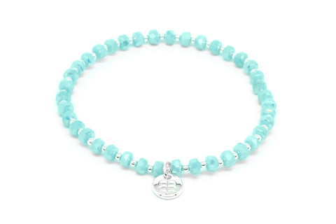 Prunus Mint Green Crystal Stretch Bracelet