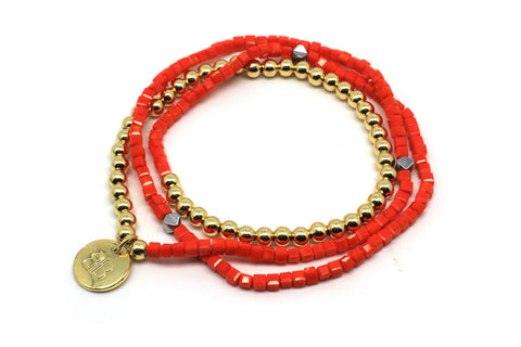 Namesia Orange 3 Wrap Stretch Bracelet