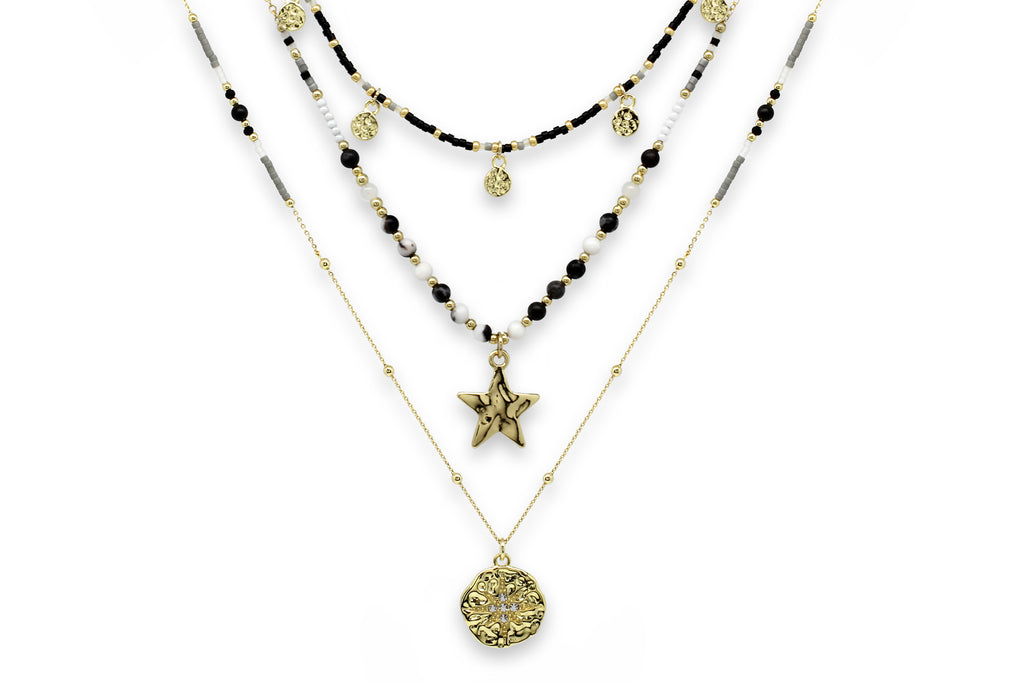 Boreas Black & Gold 3 Layering Necklace Set - Boho Betty