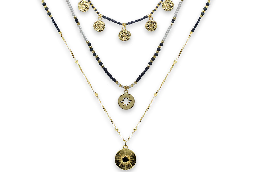 Boreas Navy & Gold 3 Layering Necklace Set - Boho Betty