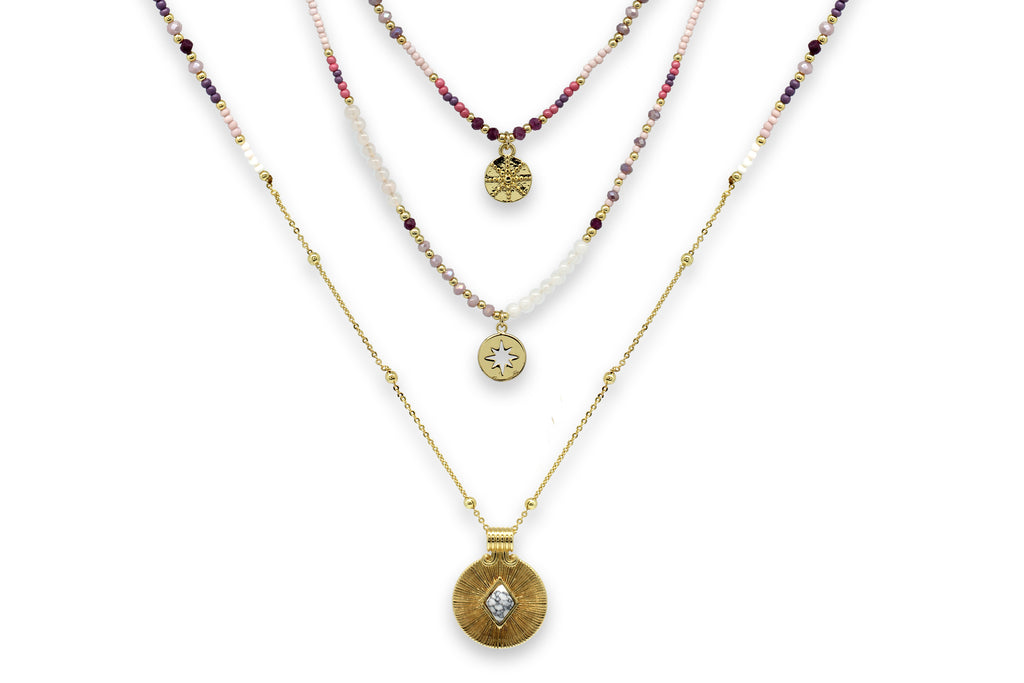 Boreas Pink & Gold 3 Layering Necklace Set - Boho Betty
