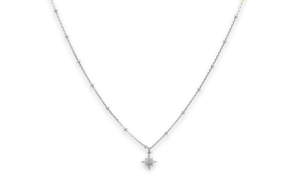 Burgundy Silver CZ Star Necklace - Boho Betty