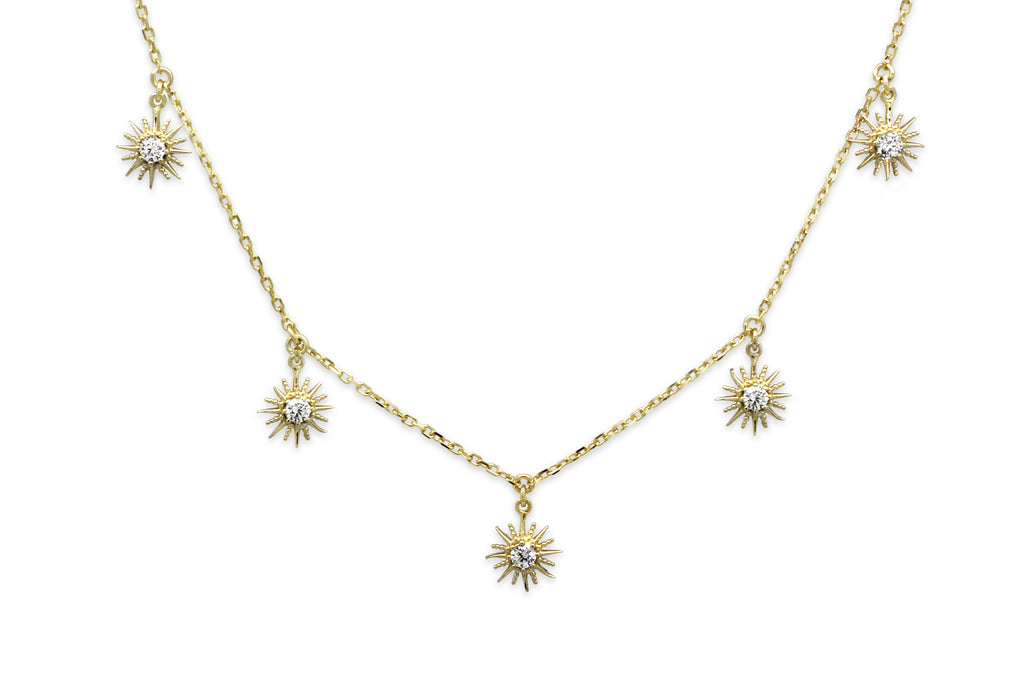 Calvados CZ Sunburst Charm Gold Necklace - Boho Betty