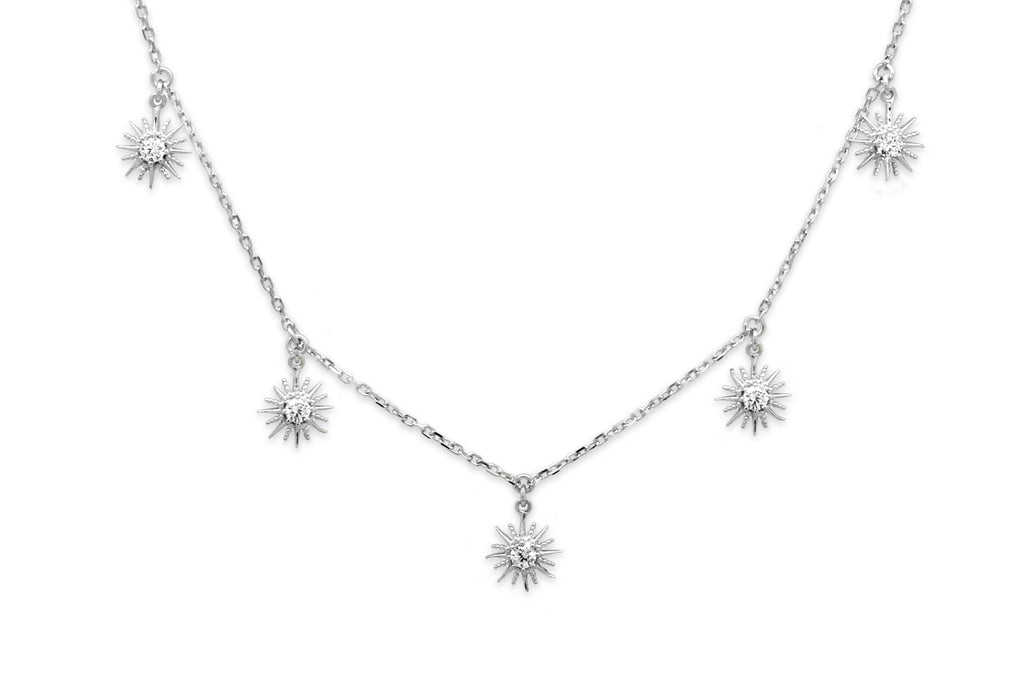 Calvados CZ Sunburst Charm Silver Necklace - Boho Betty
