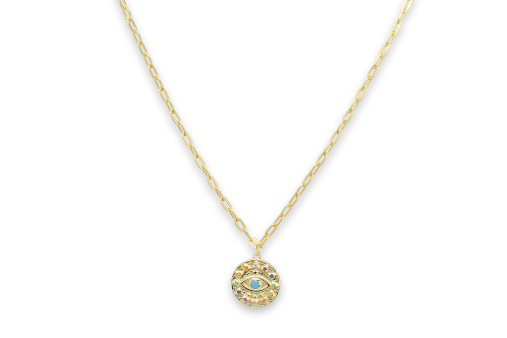Chambord Gold CZ Lucky Eye Necklace