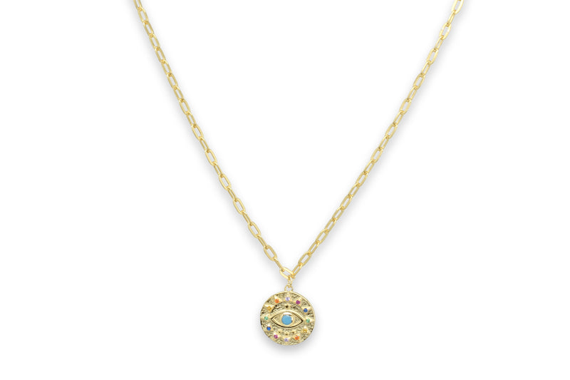 Chambord Gold CZ Lucky Eye Necklace - Boho Betty
