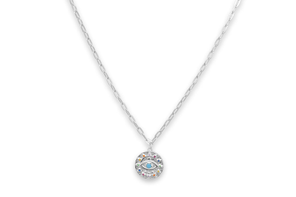 Chambord Silver CZ Lucky Eye Necklace - Boho Betty