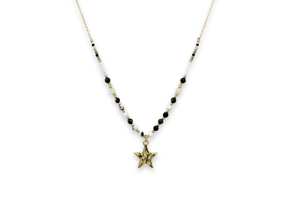 Chandra Black & Gold Star Charm Necklace - Boho Betty