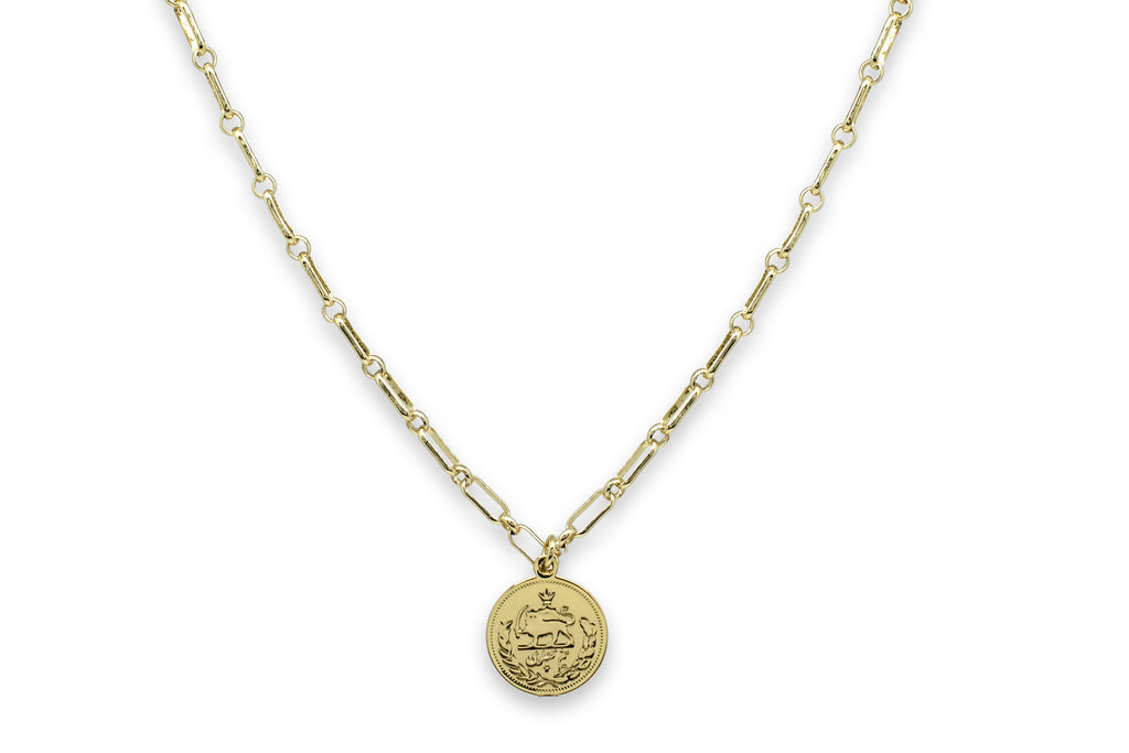 Dewi Gold Cable Chain Necklace with Coin Pendant