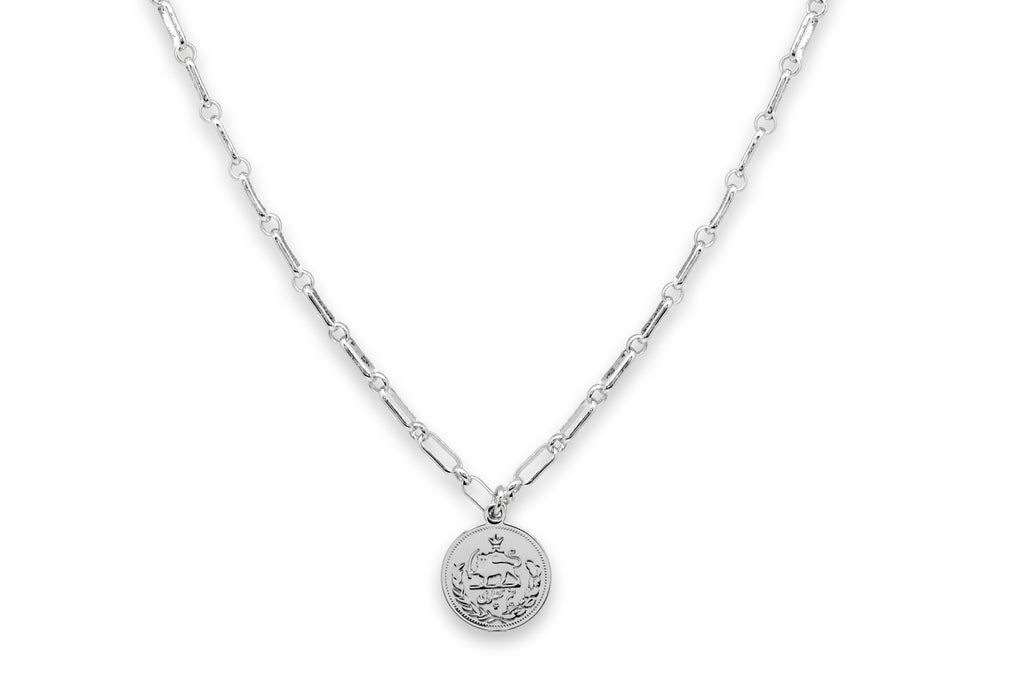 Dewi Silver Cable Chain Necklace with Coin Pendant - Boho Betty