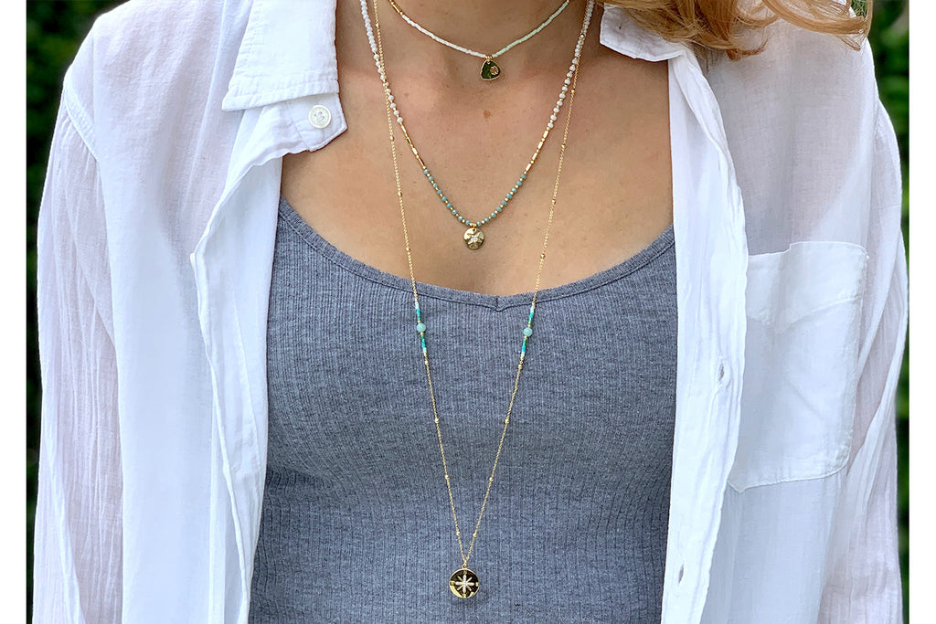 Apollo Gold & Mint Bead Short Necklace - Boho Betty