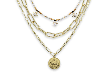 Hora Gold 3 Layer Necklace Set