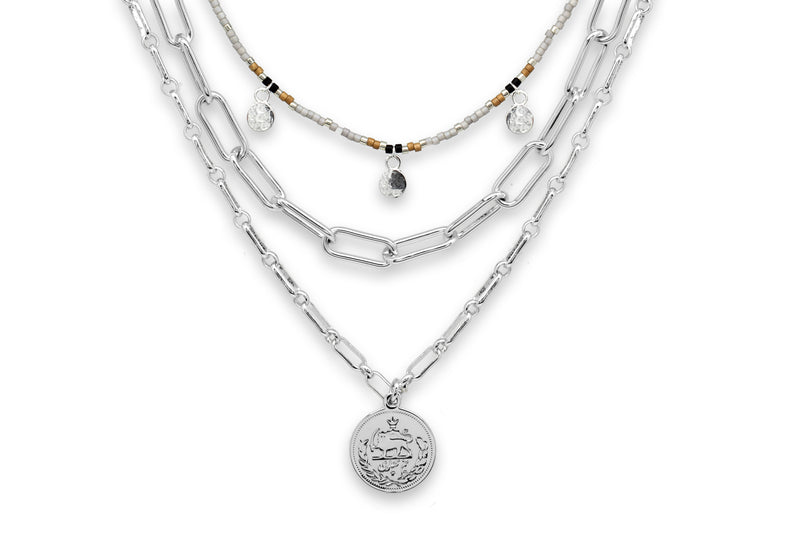 Hora Silver 3 Layer Chunky Chain Necklace Set