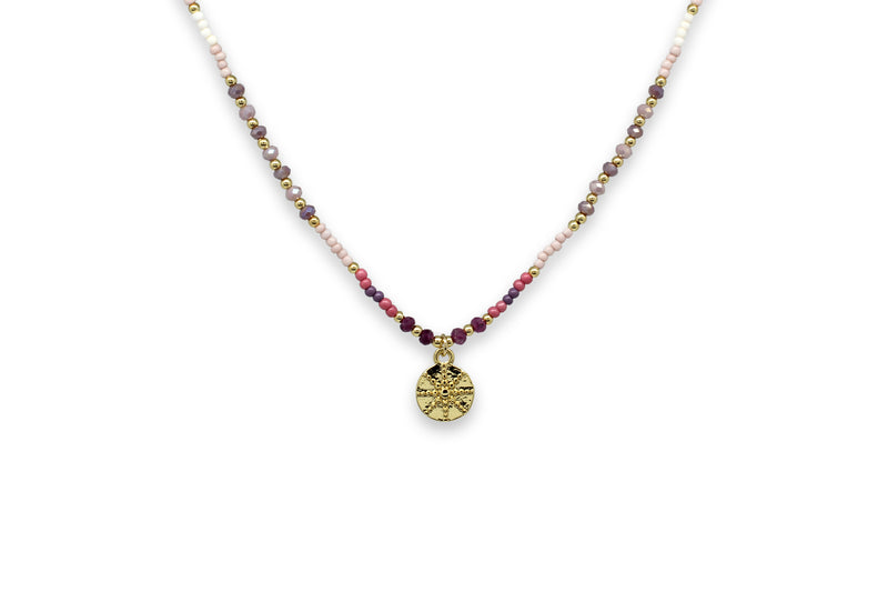 Mazu Pink Beaded Necklace with Starburst pendant - Boho Betty
