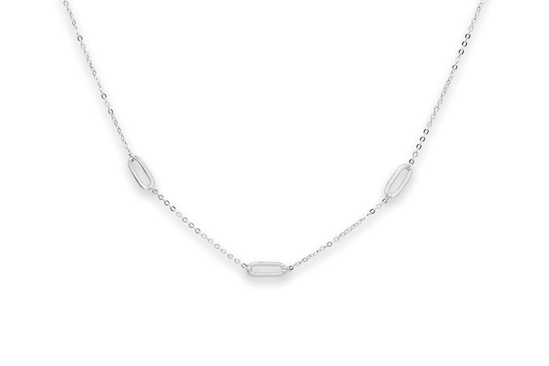 Midori Silver Oval Link Necklace - Boho Betty