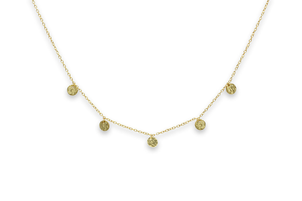 Sauterns Gold Battered Disc Necklace