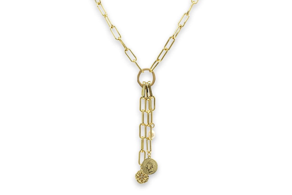 Tana Gold Multi Detachable Pendant Chunky Chain Necklace - Boho Betty