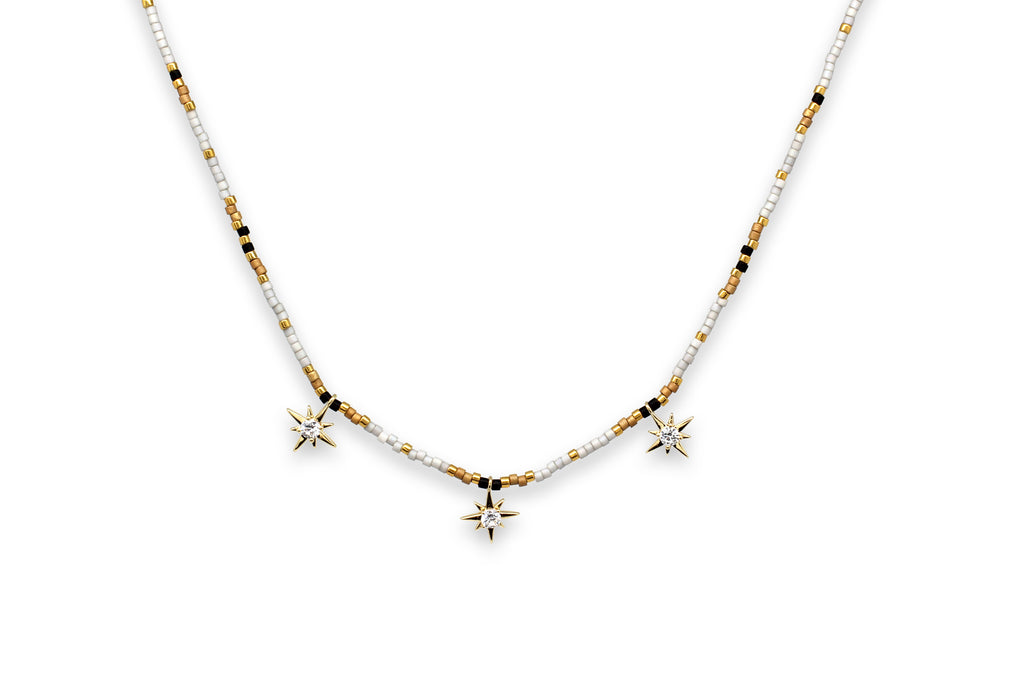 Zelus Grey & Gold Star Charm Beaded Choker Necklace - Boho Betty