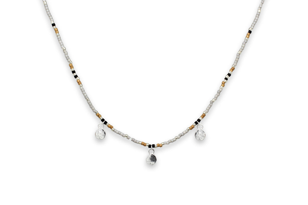 Zelus Grey & Silver Multi Charm Beaded Choker Necklace - Boho Betty