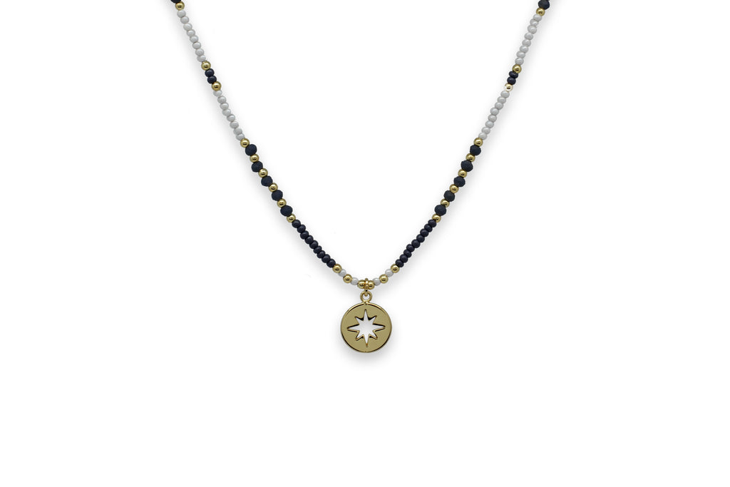 Zeyfros Navy Miyuki Bead Short Necklace - Boho Betty