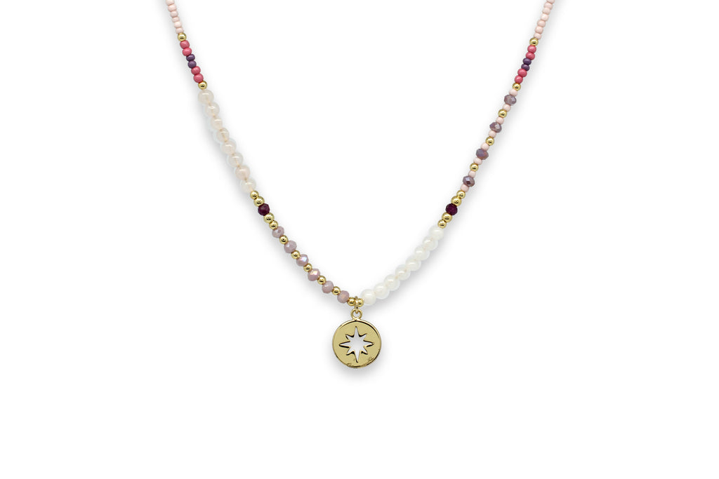 Zeyfros Pink Miyuki Bead Short Necklace - Boho Betty
