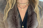 Dinlas Navy Beaded Choker Necklace with Gold Charms - Boho Betty