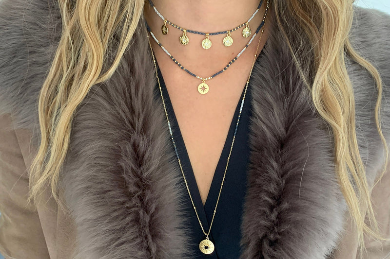 Hebe Navy & Gold Long Beaded Necklace - Boho Betty
