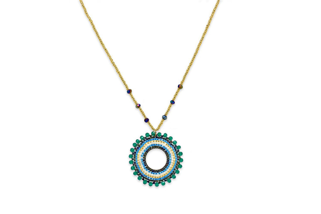 Khione Teal Beaded Necklace - Boho Betty