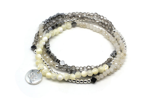 Nepeta White Crystal Stretch Bracelet