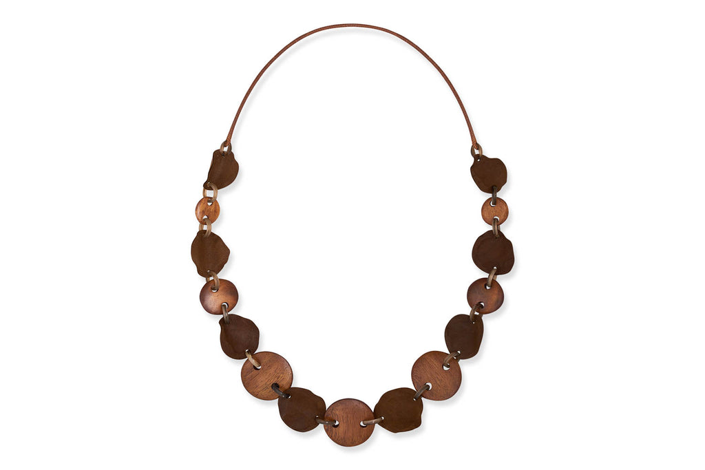 Nerthus Brown Leather Petal Necklace