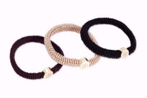 Three Black, Brown and Taupe Hair Tie Bracelets