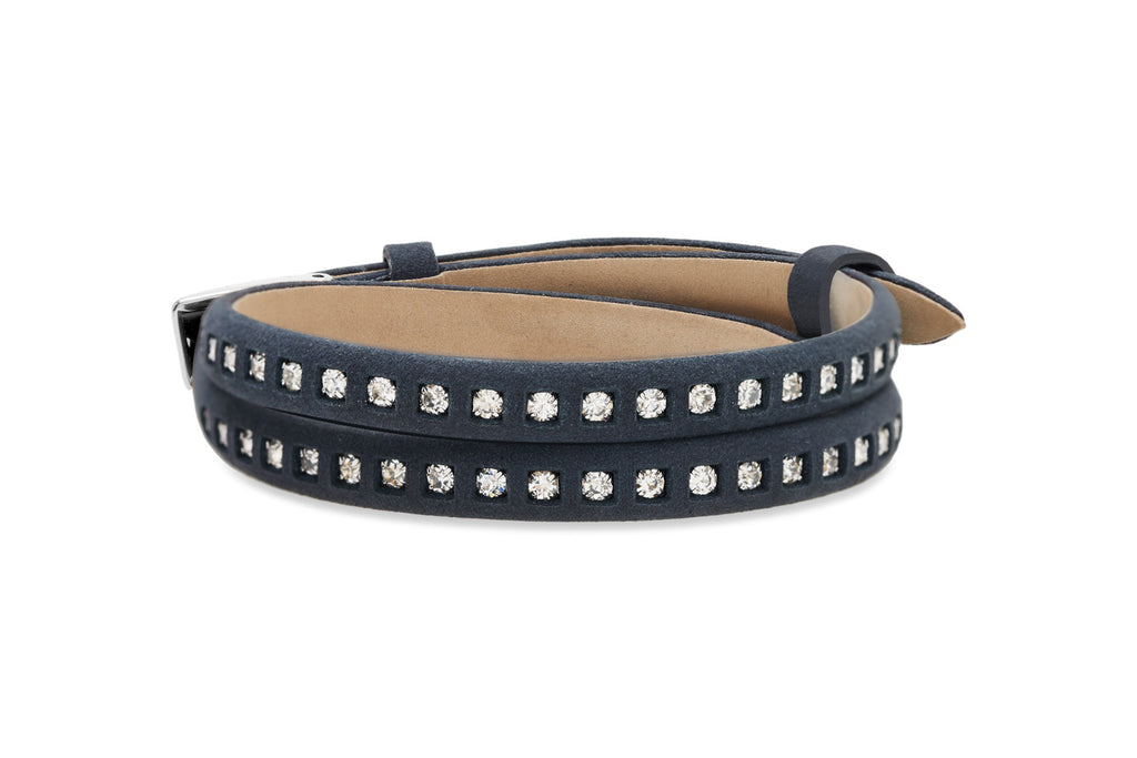 Oak Navy Leather 2 Wrap Buckle Bracelet with Crystals