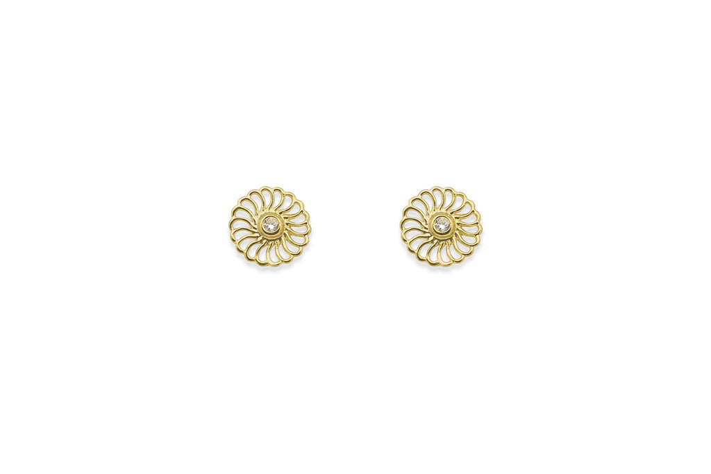 O'Hara Gold Circular Stud Earrings - Boho Betty