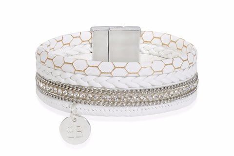 Otter White Faux Leather Crystal Magnet Bracelet