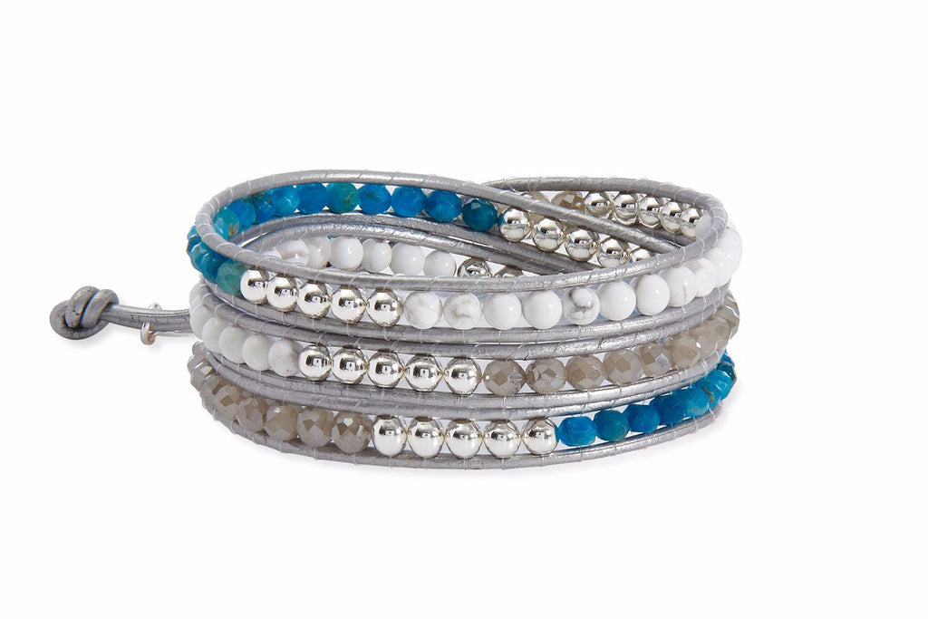 Ottawa Grey Leather 3 Wrap Bracelet with White Jade, Blue Agate, Grey Crystals and Silver Balls