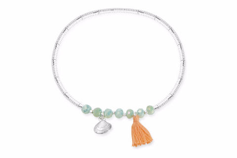 Oyster Green & Silver Seed Bead Stretch Bracelet with Shell Charm & Tassel