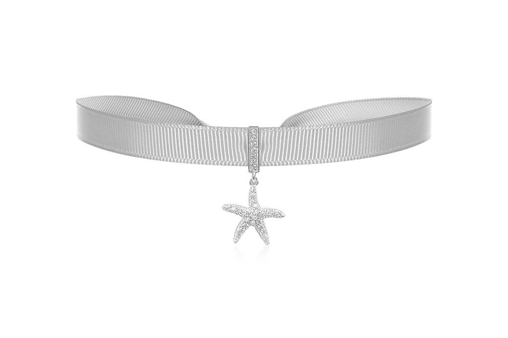Pacific Silver Ribbon Choker with Zircona Crystal in Sterling Silver Starfish Charm