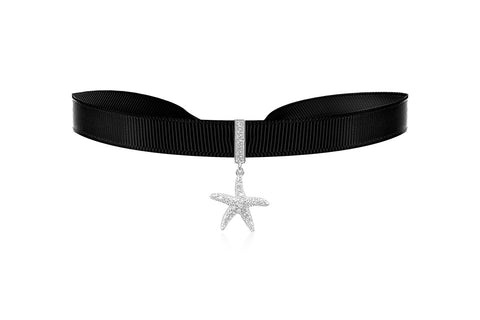 Caribbean Black Ribbon Choker with Zircona Crystal in Sterling Silver Starfish Charm