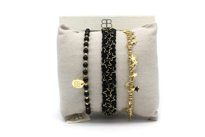 Paphos Black and Gold 3 Layered Bracelet Stack