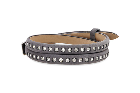 Pine Dark Grey Leather 2 Wrap Buckle Bracelet with Crystals