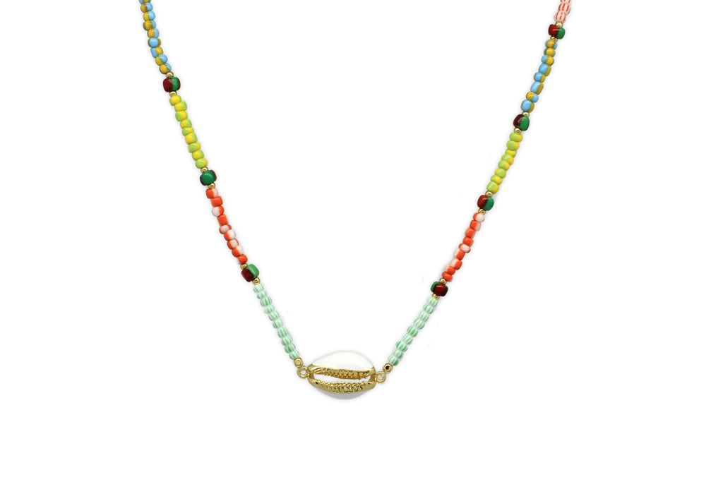 Plutos Multicoloured Miyuki Bead Shell Choker - Boho Betty